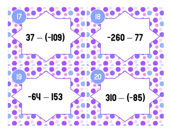 Subtracting Integers Task Cards - 7.NS.1