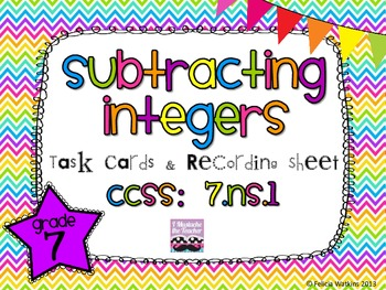 Subtracting Integers Task Cards *Algined to CCSS 7.NS.1*