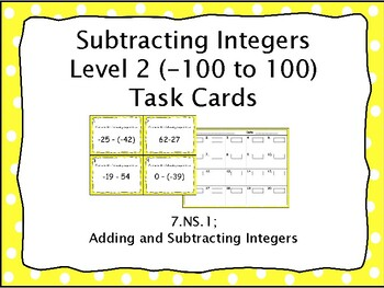 Subtracting Integers Task Cards Level 2 (-100 to 100)