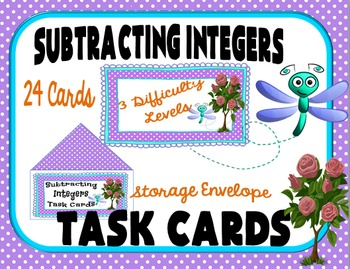 Subtracting Integers Task Cards for Classroom Games, Centers, and Activities