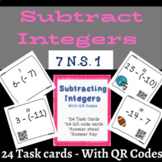 Subtracting Integers  TASK CARDS with QR Codes (football theme cards included)