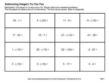 Subtracting Integers Tic-Tac-Toe