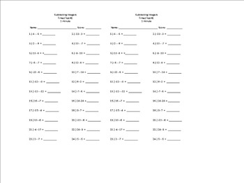 Subtracting Integers Timed Test