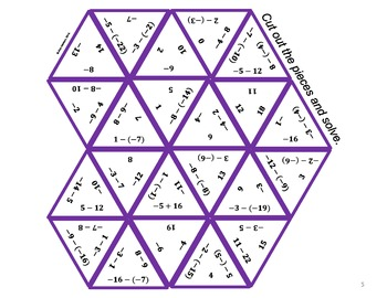 Subtracting Integers Triangle Puzzle #2