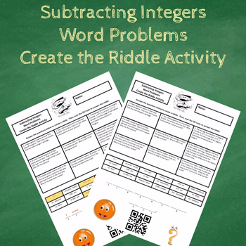 Subtracting Integers Word Problems Create the Riddle Activity