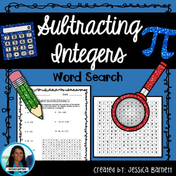 Subtracting Integers Word Search Activity