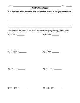 Integers (Subtracting): notes, worksheet, assessment