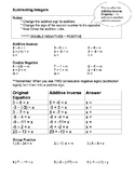 Integers (Subtracting): notes, worksheet, assessment
