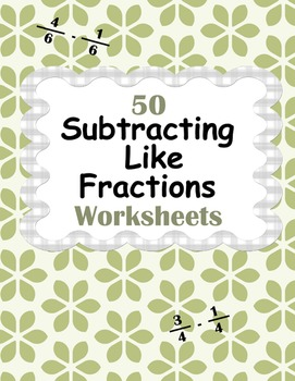 Subtracting Like Fractions Worksheets