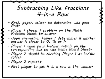 Subtracting Like Fractions 4-in-a-Row