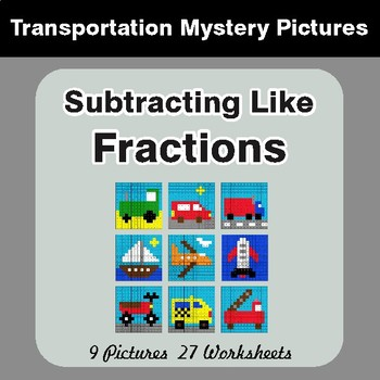 Subtracting Like Fractions - Color-By-Number Math Mystery Pictures