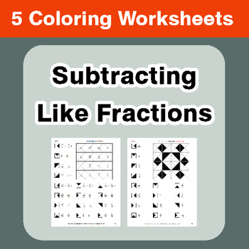 Subtracting Like Fractions - Coloring Worksheets