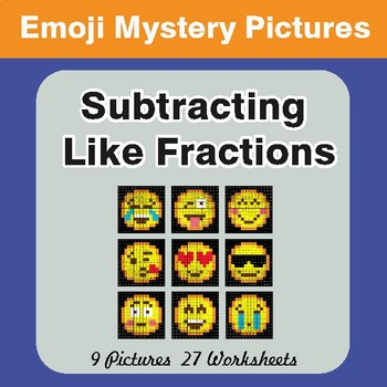 Subtracting Like Fractions EMOJI Math Mystery Pictures