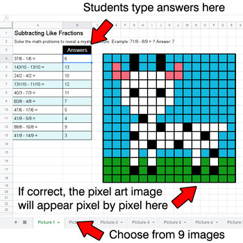 Subtracting Like Fractions - Google Sheets Pixel Art - Animals