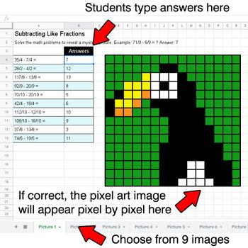 Subtracting Like Fractions - Google Sheets Pixel Art - Jungle Animals