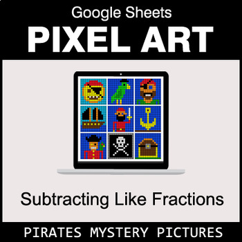Subtracting Like Fractions - Google Sheets Pixel Art - Pirates