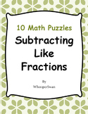 Subtracting Like Fractions Puzzles