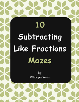 Subtracting Like Fractions Maze