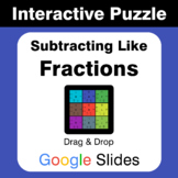 Subtracting Like Fractions - Puzzles with GOOGLE Slides