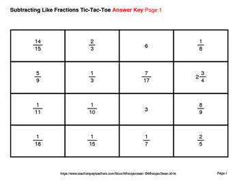 Subtracting Like Fractions Tic-Tac-Toe