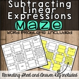 No Prep Subtracting Linear Expressions Maze
