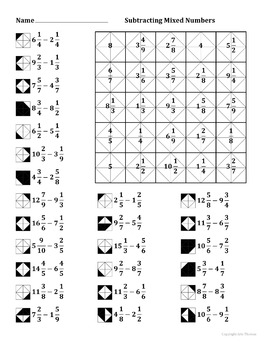 Subtracting Mixed Numbers Color Worksheet