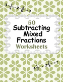 Subtracting Mixed Fractions Worksheets
