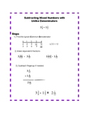 Subtracting Mixed Fractions Anchor Chart