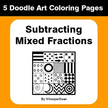 Subtracting Mixed Fractions - Coloring Pages | Doodle Art Math