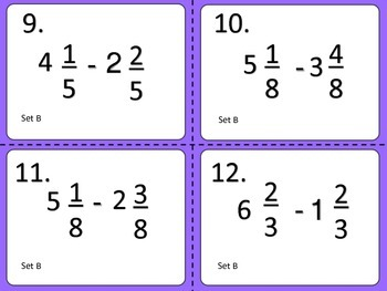 Subtracting Mixed Fractions--Task Cards