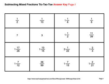 Subtracting Mixed Fractions Tic-Tac-Toe