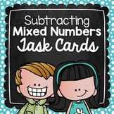 Subtracting Mixed Numbers Task Cards for Centers, Review,