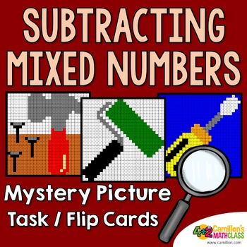Subtracting Mixed Numbers Task Cards/Flip Cards Mystery Pictures
