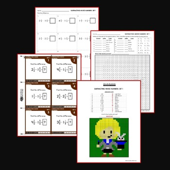 Subtract Mixed Numbers With Like Denominators Coloring Activity Mystery Pictures