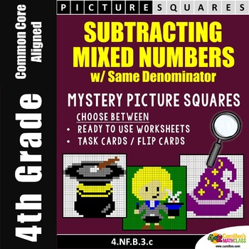 Subtracting Mixed Numbers With Like Denominators Mystery P