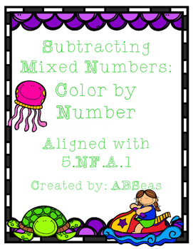 Subtracting Mixed Numbers Color by Number
