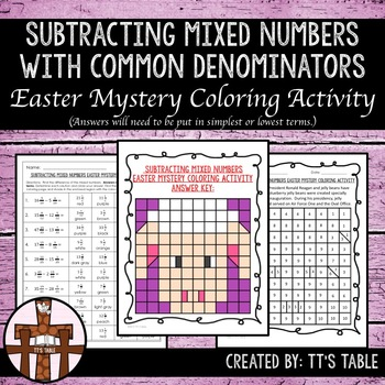 Subtracting Mixed Numbers Easter Mystery Coloring Activity
