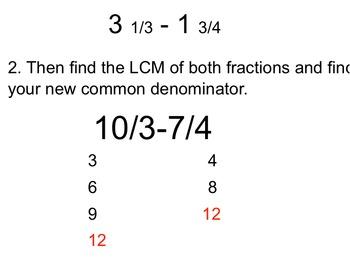 Subtracting Mixed Numbers Flipchart