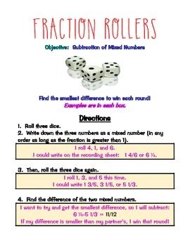 Subtracting Mixed Numbers Fraction Roller Gam