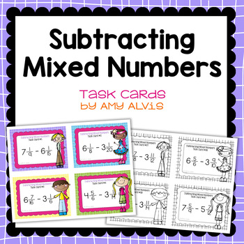 Fraction Task Cards Subtracting Mixed Numbers