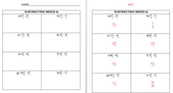 Subtracting Mixed Numbers: Interactive Notebook Foldable, Mystery Game, and Quiz