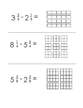 Subtracting Mixed Numbers, Like Denominators & Models, Scaffolded; Special Ed