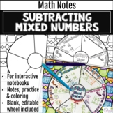 Subtracting Mixed Numbers Math Wheel