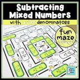 Subtracting Mixed Numbers with Unlike Denominators Worksheet