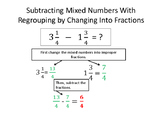 Subtracting Mixed Numbers Mini Poster
