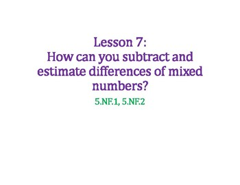 Subtracting Mixed Numbers PowerPoint