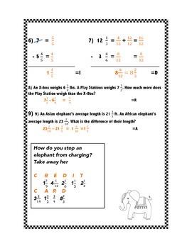 Subtracting Mixed Numbers Practice