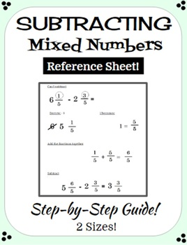 Subtracting Mixed Numbers Reference Sheet