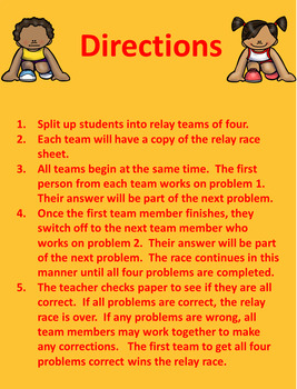 Subtracting Mixed Numbers Relay Race