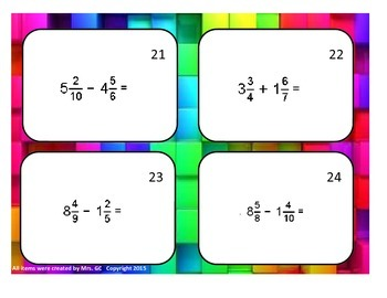 Subtracting Mixed Numbers Task Cards